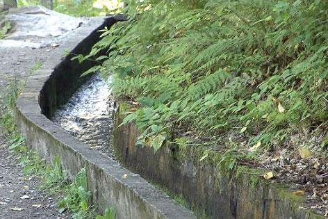 Wasserkanal neben Weg