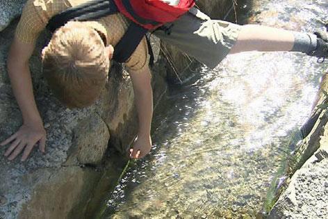 Bub hängt Arm in Wasserkanal