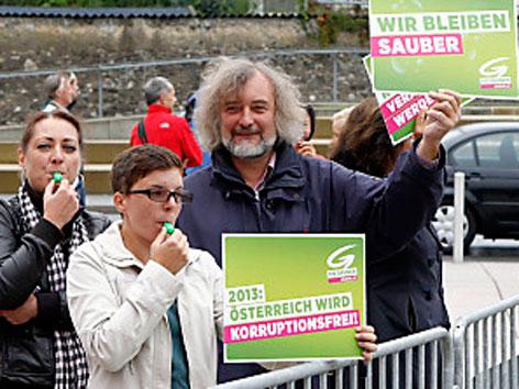 Protest Grüne Parteitag FPK Villach