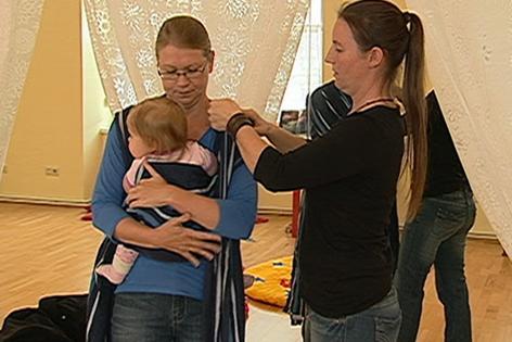 Tragetuch für Babys, Einschulung