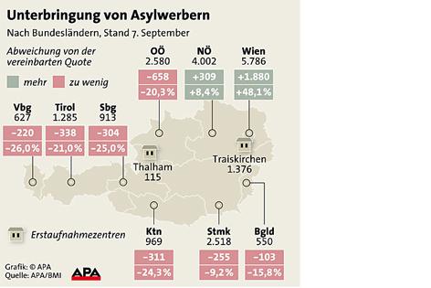 Grafik zur Unterbringung von Asylwerbern in den einzelnen Bundesländern