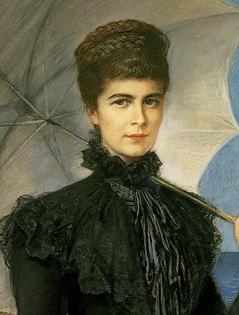 Kaiserin Elisabeth in schwarzem Kleid auf Korfu. Gemälde von Friedrich August Kaulbach