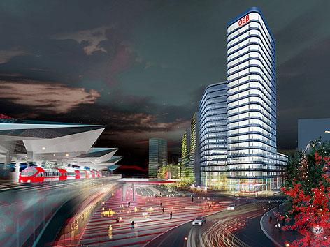 Visualisierung der neuen ÖBB-Konzernzentrale am Hauptbahnhof