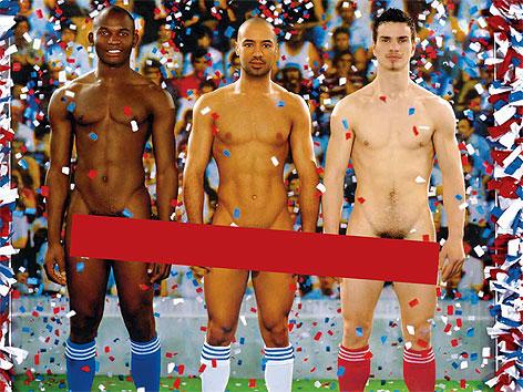 """Plakat zur Ausstellung """"Nackte Männer"""" mit Balken"""