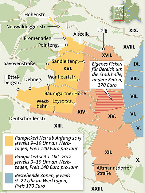 Parkpickerl-Zonen im Westen Wiens seit Oktober 2012 und ab 2013
