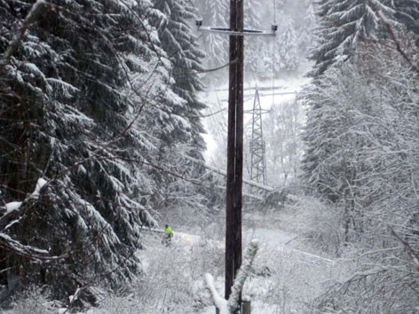 Tiefverschneiter Wald mit Strommasten und Monteuren