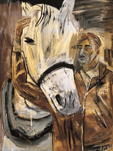 Albert Oehlen - Selbstportrait mit Pferd 1985