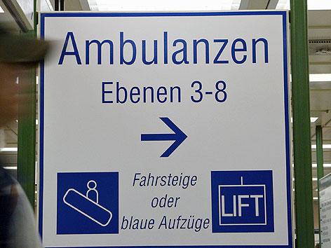 Hinweisschild zu Ambulanz im Wiener AKH