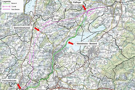 Plan der Tunneltrasse der Westbahn zwischen Köstendorf und Hallwang