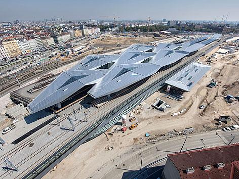 Luftaufnahme des Wiener Hauptbahnhofs