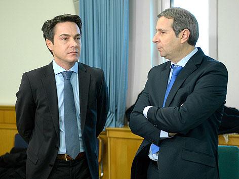 Franz Koloini mit seinem Anwalt Gerhard Lesjak im Wiener Landesgericht