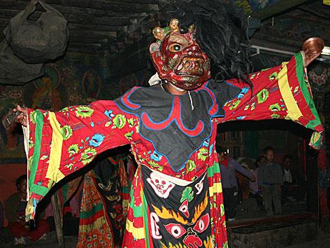 Traditioneller Maskentanz der Bön-Religion in Tibet