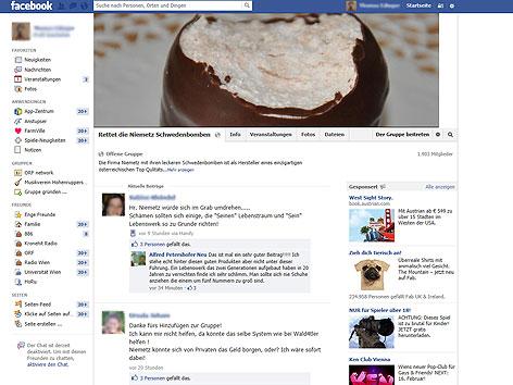 """""""Rettet die Niemetz Schwedenbomben"""" Fanseite auf Facebook"""