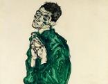 "Schieles Selbstdarstelllung in grünem Hemd mit geschlossenen Augen"""