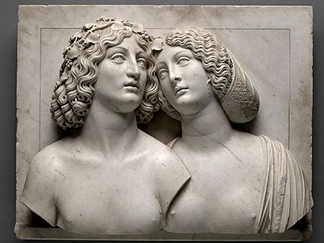Büste eines jungen Paares aus Stein und Marmor