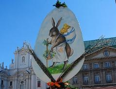 Ostermarkt-Standl mit Hasen Am Hof in der Wiener Innenstadt