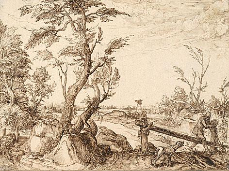Baumreiche Landschaft mit Lanzenträger und bellendem Hund, um 1603 von Jacob de Gheyn II.