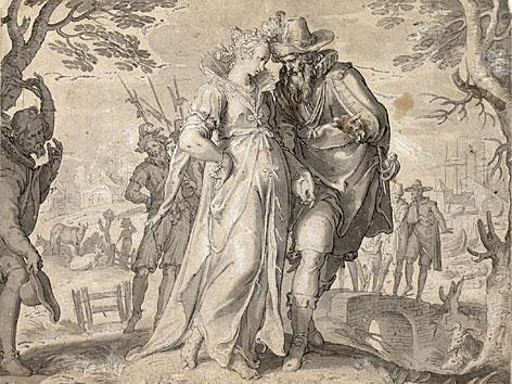 Joachim Antonisz. Wtewael Die Dame Belgica wird hofiert (aus der Belgica-Folge), 1612