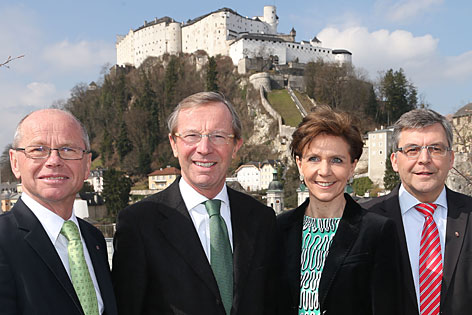 Das ÖVP-Team für die Wahl: Christian Stöckl, Wilfried Haslauer, Brigitta Pallauf, Josef Schwaiger (von links nach rechts)