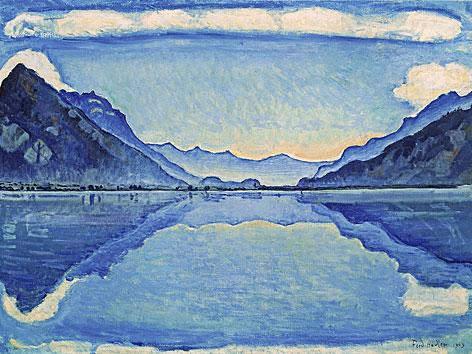 Ferdinand Hodler: Der Thunersee mit symmetrischen Reflexen, 1909