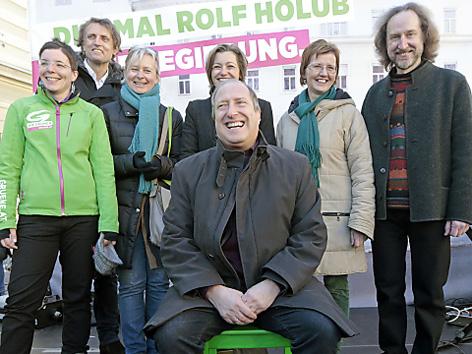 Rolf Holub und Grüne bei Abschlussveranstaltung