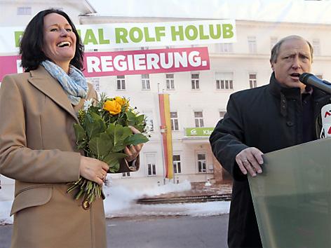 Rolf Holub und Eva Glawischnig bei Grüner Abschlussveranstaltung