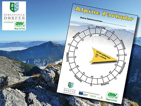 Alpine Parkuhr mit Bergen im Hintergrund