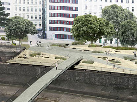Visualisierung eines Modells für neue Wiental-Terrasse