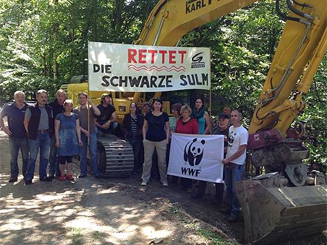 Protest gegen den Baubeginn des Sulmkraftwerks