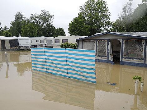 Campingplatz unter Wasser