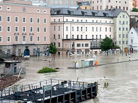 Donauufer in Linz bei Hochwasser