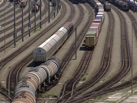Güterverkehr am Verschiebebahnhof Fürnitz