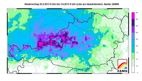Niederschlagskarte Österreich