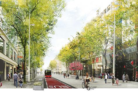 Skizze für Umgestaltung der Mariahilfer Straße