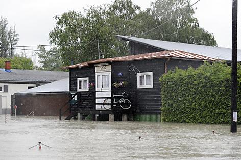Kritzendorf, Haus im Hochwasser