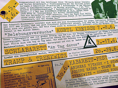 Programmfolder 1984 - mit Schlabarett, Tramp & Trenkwitz