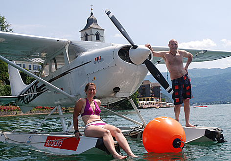 """Scalaria Flugboote Wasserflugzeuge Flugshow St. Wolfgang Hamis Mitchell """"The Spirit of Scotland"""" Flugzeug Cessna 172"""