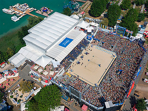 Beachvolleyball EM Klagenfurt Center Court Vogelperspektive