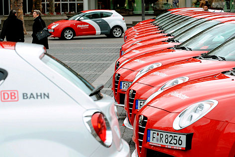 Autos des Carsharing-Modells Flinkster in Stuttgart 2009
