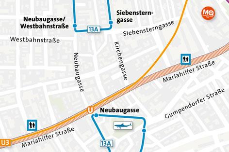 Stadtplan mit getrennter 13A-Linienführung