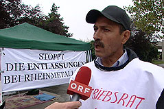 Mesut Kimsesiz, Betriebsrat bei MAN, im ORF-Interview zu Hungerstreik