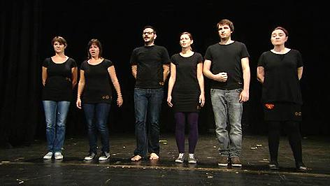 """Gruppe """"Die fette Christa"""" auf der Bühne"""
