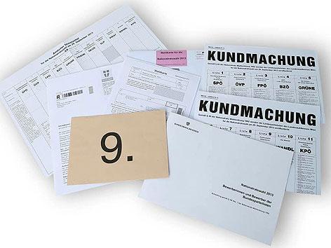 Wahlkarten und Stimmzettel für die Nationalratswahl 2013