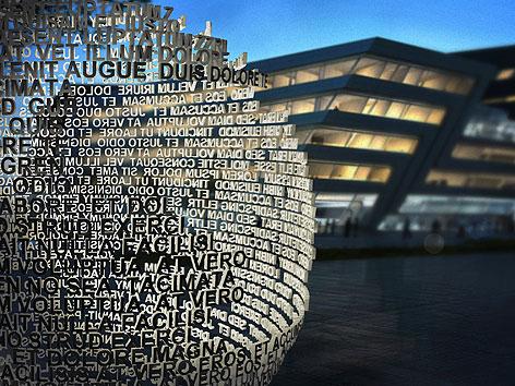 Visualisierung des neuen Mahnmals vor der Wirtschaftsuniversität Wien