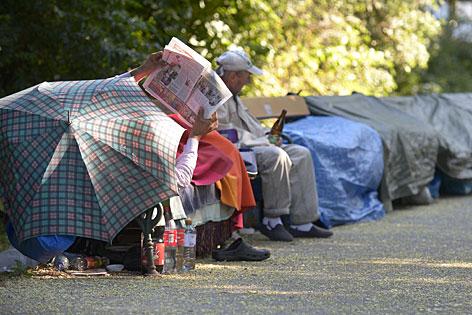Obdachlose im Stadtpark