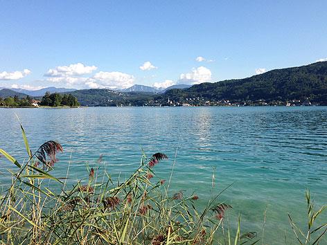 Wörthersee Sommer Sonne Baden Blickrichtung Klagenfurt