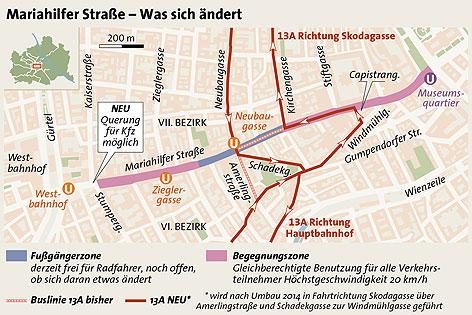 Grafik zur neuen 13A-Route