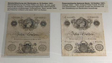 Echter Zehn-Gulden-Schein und Fälschung