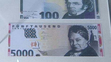 5.000-Schilling-Schein, der nie in Umlauf gebracht wurde, mit Marie Ebner-Eschenbach