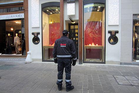 Securitas-Sicherheitsmann in der Wiener Innenstadt